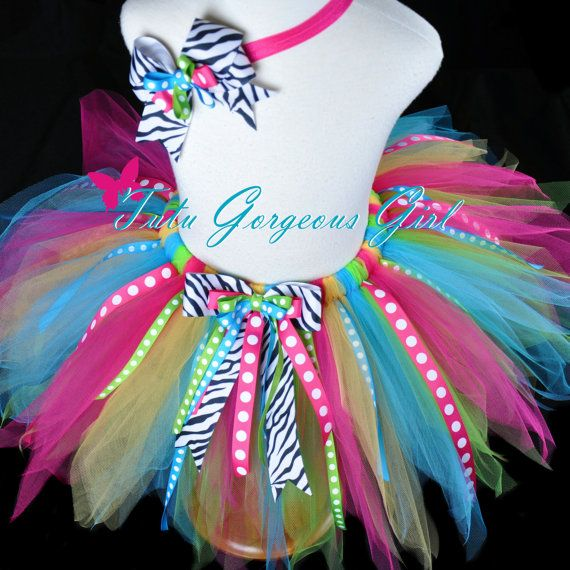 Birthday Ribbon Tutu & Headband Set...Turquoise, Hot Pink, Yellow, Lime...Zebra and Polka Dot Ribbon Streamers . . . JUBILEE BIRTHDAY on Etsy, $42.00