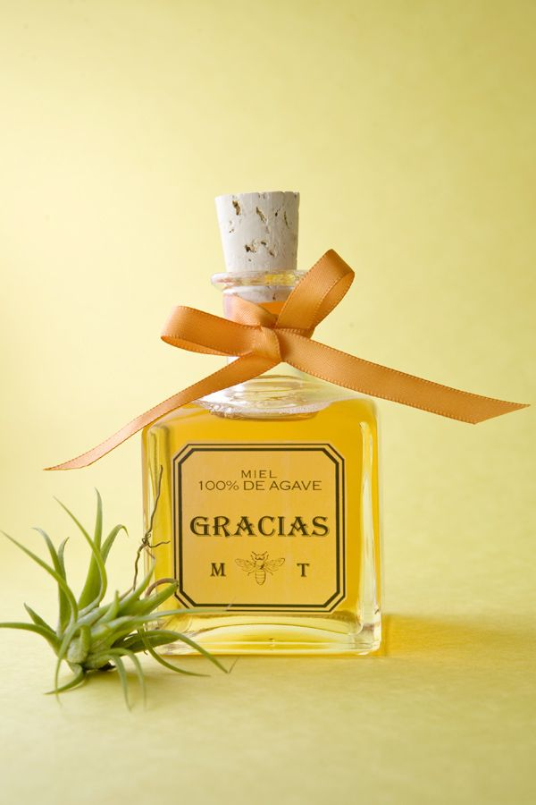 Cinco de Mayo wedding inspiration -- mini tequila (or agave syrup) bottles for your guests!