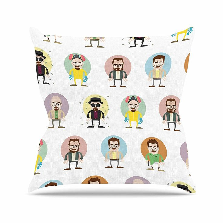 KESS InHouse PO1005AOP03 18 x 18-Inch 'Juan Paolo The Stages of Walter White Breaking Bad' Outdoor Throw Cushion - Multi-Colour * Read more info by clicking the link on the image. #GardenFurniture and Accessories