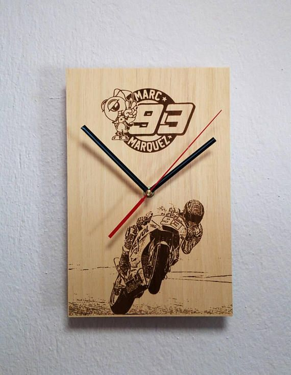 Check out this item in my Etsy shop https://www.etsy.com/listing/565340609/wooden-wall-clock-moto-gp-marc-marquez