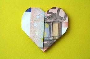 Faltanleitung kleines Herz als Geldgeschenk