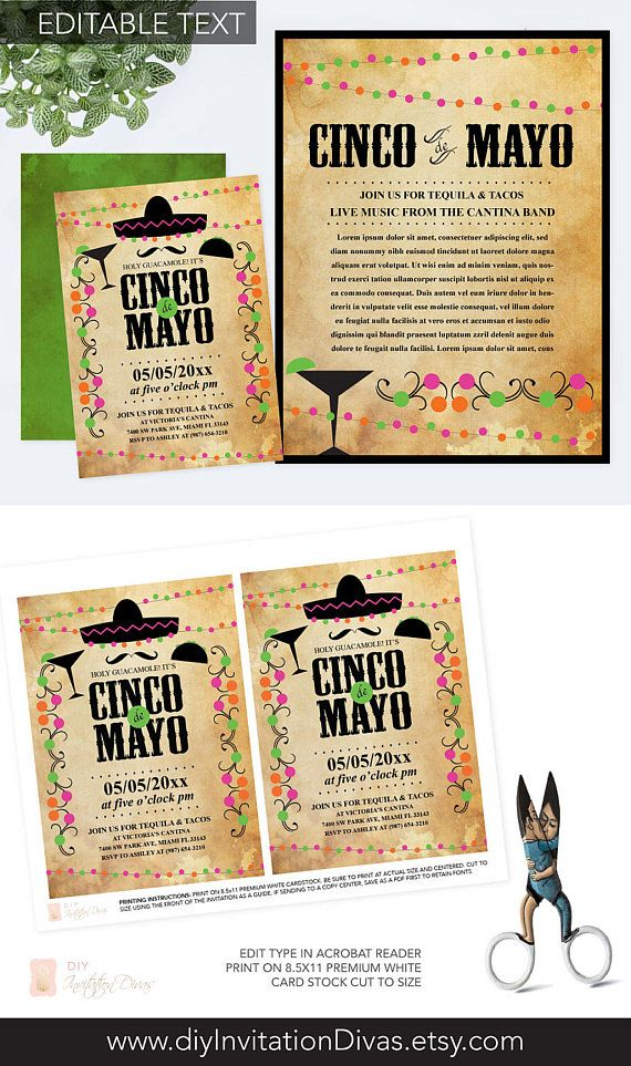 114 best invitations you can edit images on pinterest printable editable text cinco de mayo invitation with free flyer fiesta birthday party invite instant download mexican fiesta theme editable pdf stopboris Images