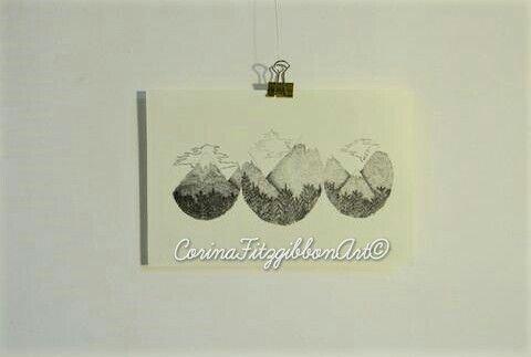 """Wandering Minds"" illustration   Art print   Gilcee Print   Mountains   Etsy CorinaFitzgibbonArt© All Rights Reserved."