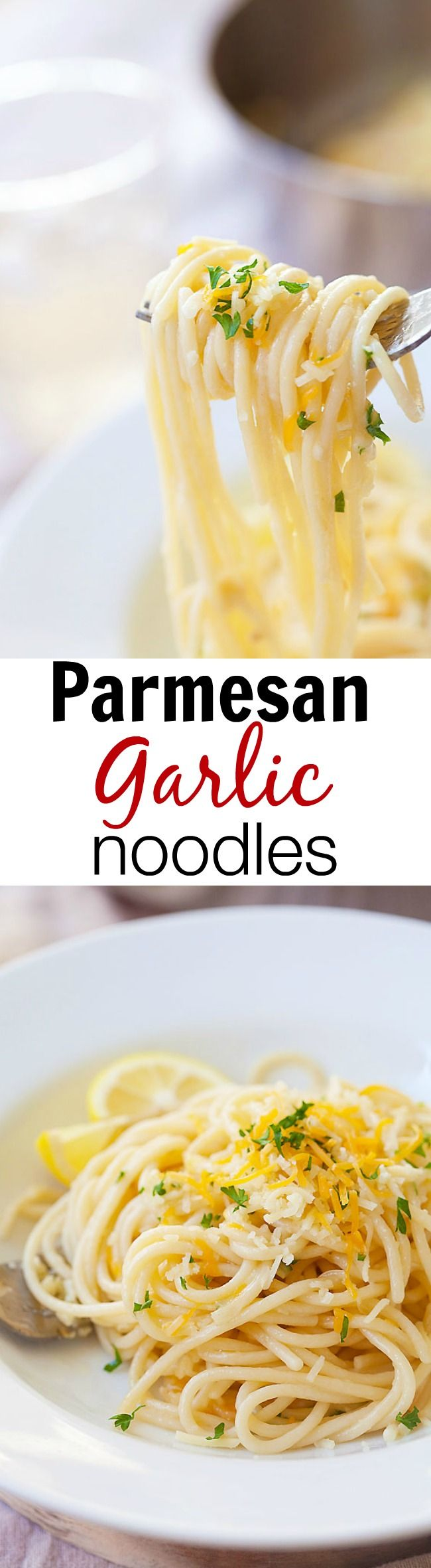 Parmesan Garlic Noodles - quick & easy spaghetti recipe with garlic and Parmesan cheese. This Parmesan Garlic Noodles recipe takes 20 mins | rasamalaysia.com