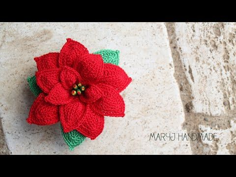 MaryJ Handmade: Stella di Natale all'uncinetto   How to crochet a poinsettia