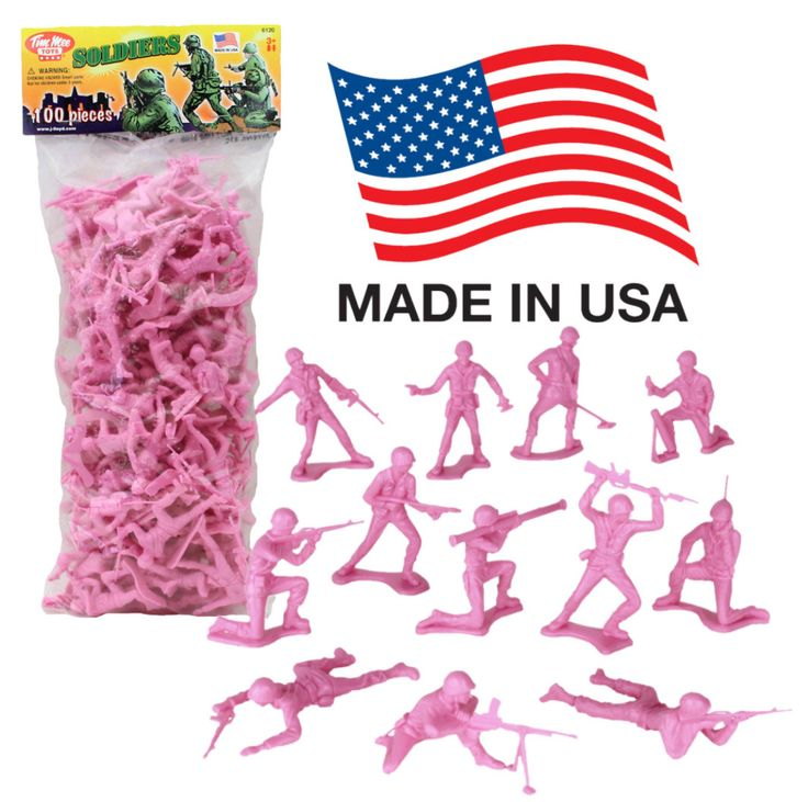 A colorful twist on an American Classic! This bag of 100 Tim Mee 'plastic army guys' is proudly manufactured in the United States, and includes 100 pink color troops. There's about 12 different figure
