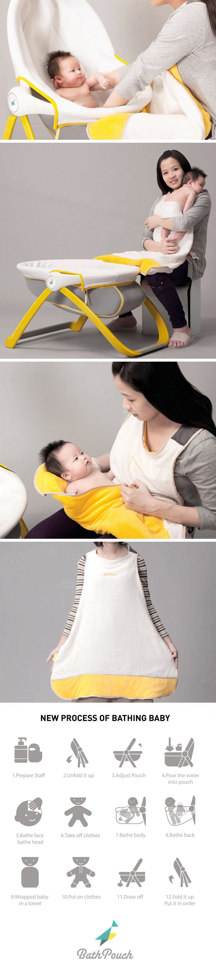 BathPouch rethinks the way you bathe baby. The two-part system is designed to mimic the in-womb experience, the enveloping design of both aims to not only ease the bathing process, but keep little ones feeling safe and cozy.