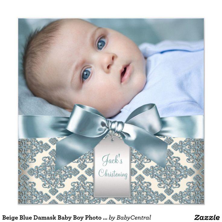 54 best religious invitations ideas images on pinterest crosses beige blue damask baby boy photo christening 525x525 square paper invitation card stopboris Images