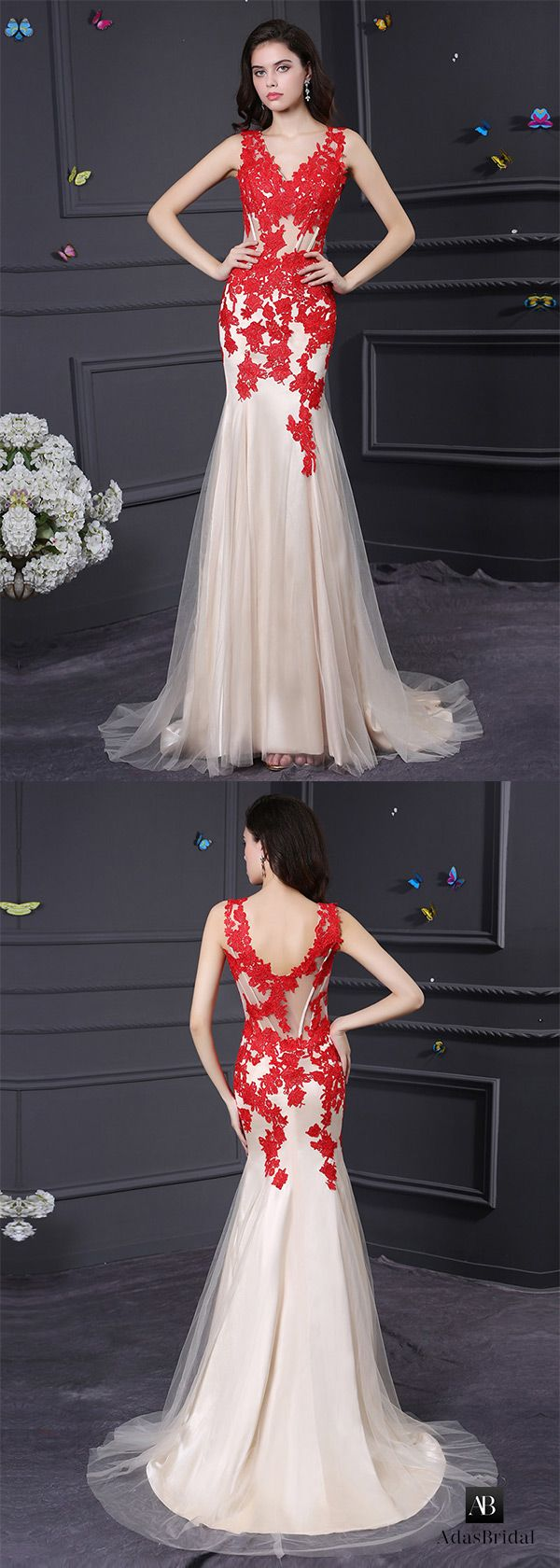 Exquisite tulle & stretch satin v-neck mermaid prom dresses. Have that alluring look in this dress. (SOD43445) - Adasbridal.com