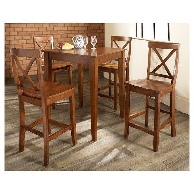 5 Piece Pub Dining Set with Tapered Leg and X-Back Stools - Classic Cherry (Red) Finish - Crosley