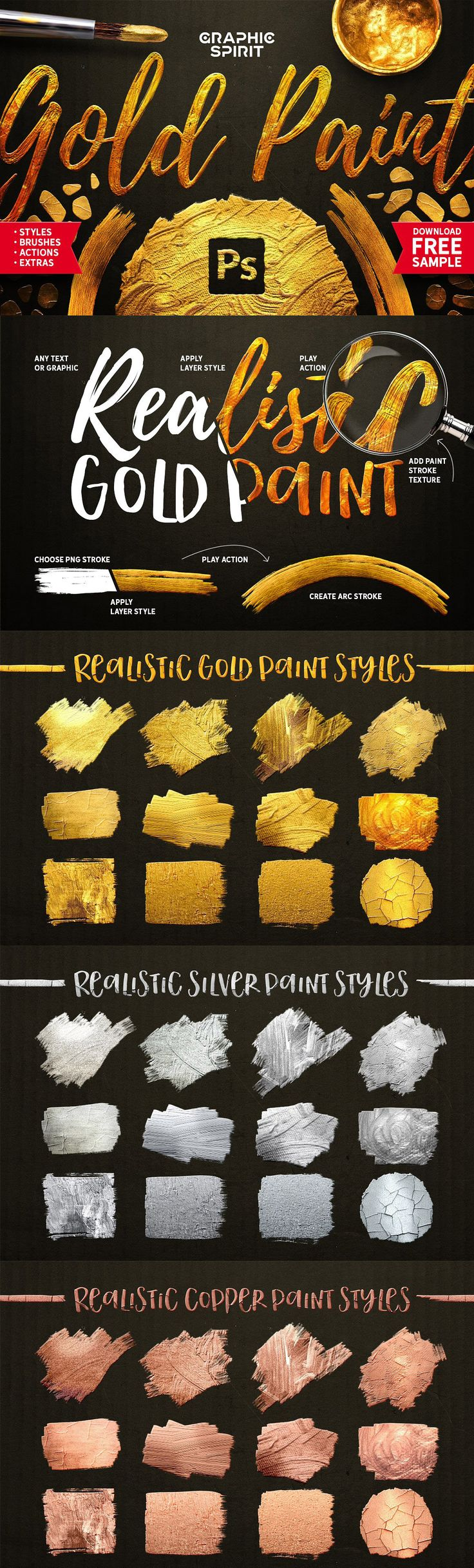 Gold Paint Effect for Photoshop. There is everything you need here: layer styles, brushes, actions, backgrounds, .PNG graphics, free fonts list, 5 ready-made templates with text that you just need to replace with your own ones. This set is suitable for creating layouts of postcards, posters, web banners and more!