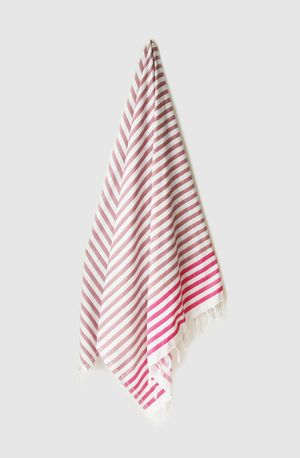 Sheker Candy Stripe Turkish Towel Rose and Flamingo - $49 AUD