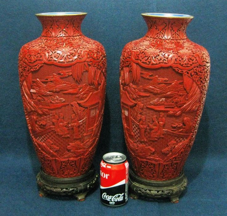 PAIR CHINA CINNABAR LACQUER ENAMEL RED VASE POT CARVED FIGURES WOOD BASE 14.9 IN