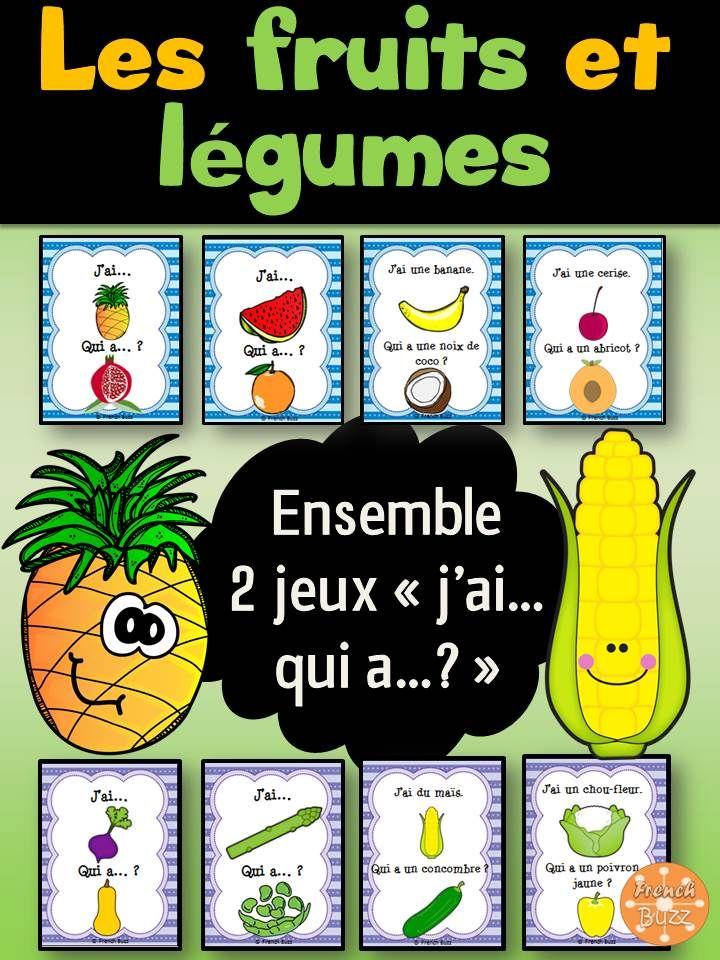 """Ensemble de 2 jeux """"j'ai... qui a...?"""" sur les fruits et légumes. Il y a 31 cartes pour les légumes et 24 cartes pour les fruits; 2 versions pour chaque jeu (avec et sans les mots) pour différencier."""