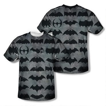 This allover print t-shirt features an edge to edge and front and back design of 75 years of Batman logos.   Includes a commemorative 75th Anniversary Bat Logo! This 100% polyester shirt is available in adult sizes. Please note that this t-shirt uses a dye sublimation print process which creates slight imperfections that are unique to each garment. While the manufacturer takes every step to minimize these imperfections, they cannot be eliminated completely. Some examples of what you might…