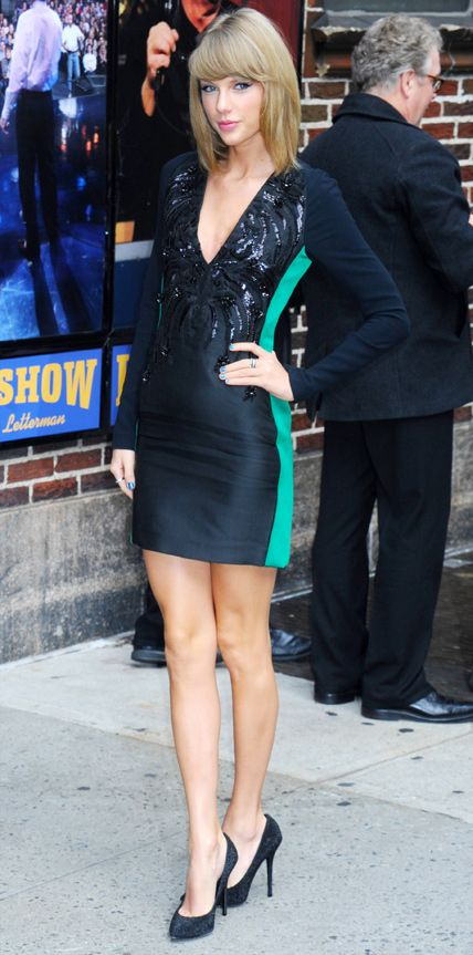 Taylor Swift wearing Antonio Berardi for her Late Show with David Letterman appearance.