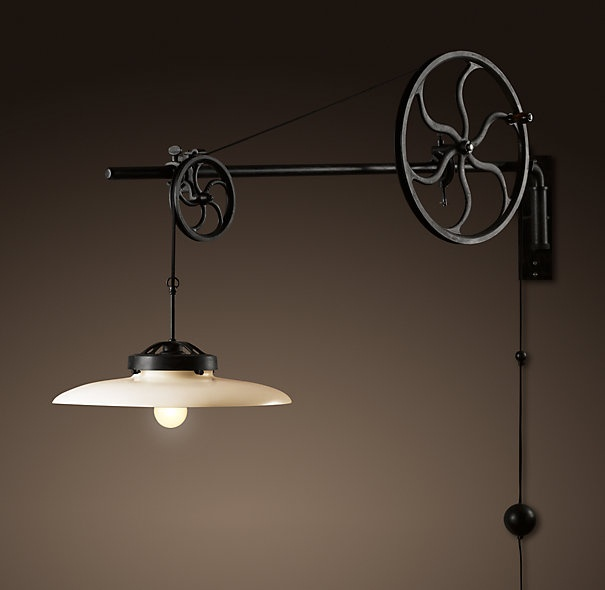 lamp from old pulley light fixtures pinterest. Black Bedroom Furniture Sets. Home Design Ideas