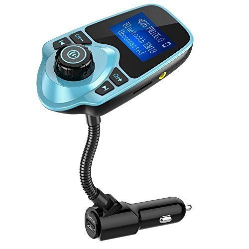 Nulaxy Wireless In-Car Bluetooth FM Transmitter Radio Adapter Car Kit with 1.44 Inch Display and USB Car Charger - Mint Green