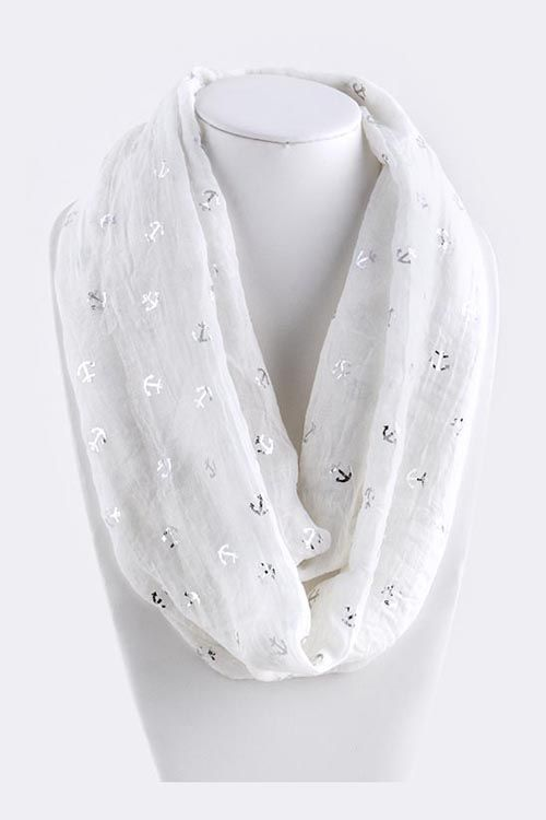Nautical Infinity Scarf in White on Emma Stine Limited $38