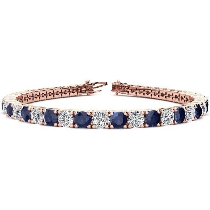 8 5 Inch 13 1 2 Carat Sapphire Diamond Tennis Bracelet In 14k Rose Gold 14 6 G By Superjeweler Tennis Bracelet Diamond Black Diamond Bracelet Sapphire Bracelet