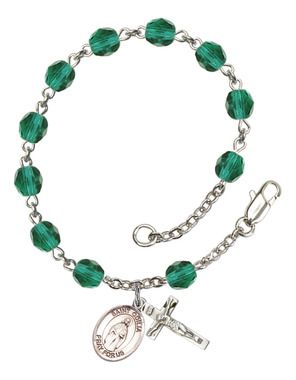St. Odilia Silver-Plated Rosary Bracelet with 6mm Zircon Fire Polished beads