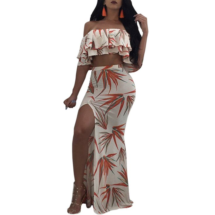 Strapless Crop Tops and Long Skirts Womens High Slit Printed Bodycon 2PCS Summer Jumpsuits Women Short Sleeve Beach Tracksuits #Affiliate