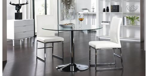 salerno palermo round dining table large & set of 2 loop leg