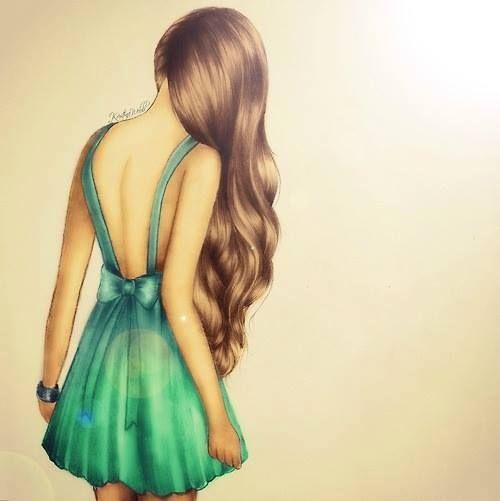 Рисунки девушек с длинными волосами карандашом в стиле арт