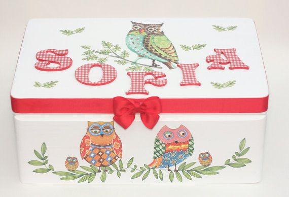 Wooden personalized baby keepsake box,christening gift, handmade decoupage box