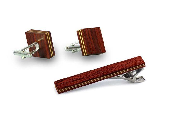 Комплект зажим для галстука и запонки от БАГ из дерева | Красное красное дерево - красный махагон / Клён