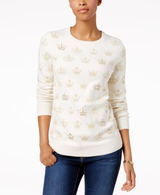 2b54437af480b Charter Club Patterned Embellished Sweaters