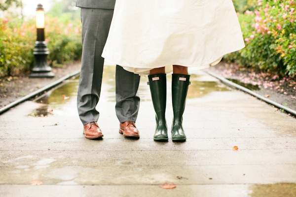 Bride's rainboots by Hunter Photography By / http://lindsaymaddenphotography.com,Floral Design By / http://RosePetalsandLace.com