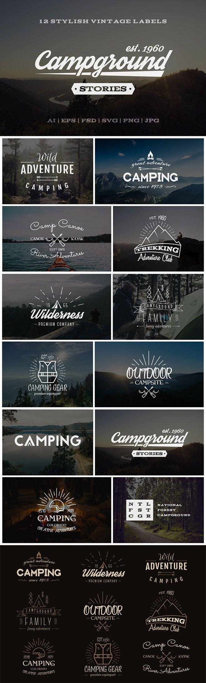 12 Outdoor Vintage Labels & Logos for Premium Members More
