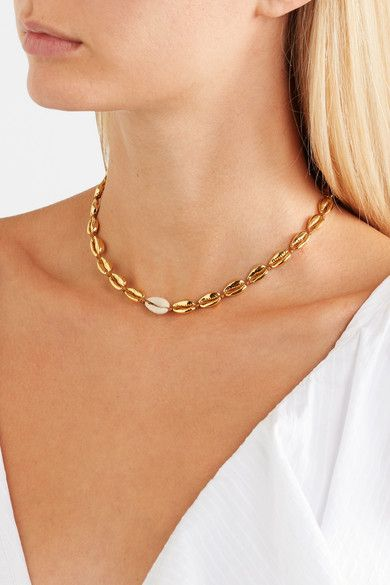 70a8b1bd5b6fb2 Tohum - Small Puka gold-plated and shell necklace in 2019 | jewelery ...