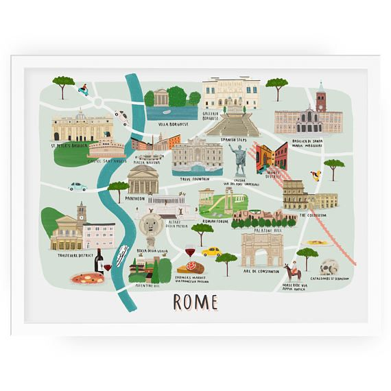 Another from the city map collection, Im very glad to introduce the map of Rome.  The print features many of the historical spots and sites to visit while exploring the great city of Rome.  Choose the framed option to have the artwork framed with glass in a white frame.  - Giclée printed on 300 gsm heavy matt paper - Free Uk Postage on unframed prints - Posted rolled in stiff postal tube or framed in bubblewrap - Heavy matt 300gsm giclée print, or heavy matt digital print on the 40 x 50 cm…