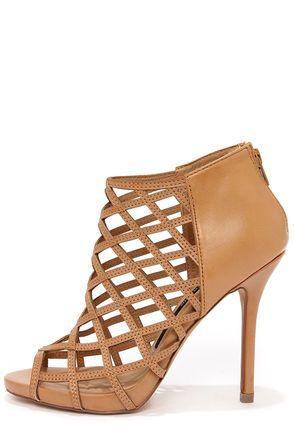 Kensie Biggie Tan Leather Latticework Heel Booties at Lulus.com!