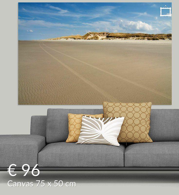 Nieuw in mijn Werk aan de Muur shop: Strand scene met zandduinen op de achtergrond
