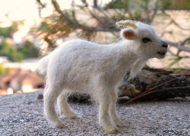Needle felted animal. Nativity Waldorf Goat. READY by darialvovsky, $120.00