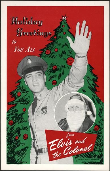 elvis military christmas card with the colonel as santa