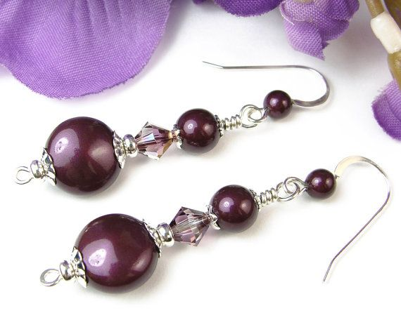 Blackberry pearl and lilac shadow crystals combine beautifully with sterling silver in these elegant handmade dangle earrings. The pearls and