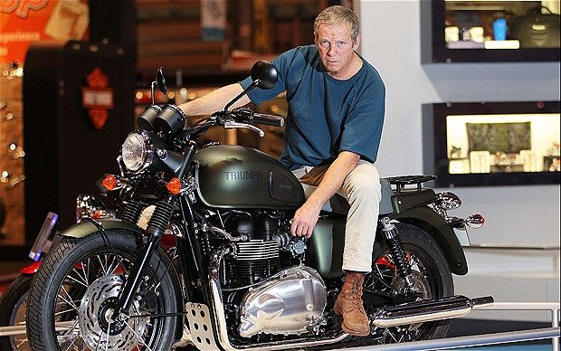 Steve McQueen limited edition Triumph Bonneville, launched at Motorcycle Live show, Nov 2011. LOOKALIKE is on board, not the Hollywood legend...