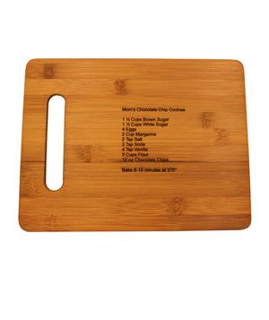 Bamboo Cutting Board with Laser Engraved Recipe gifts - neat gift idea!
