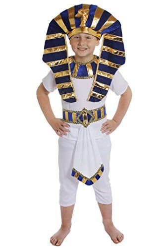 BOYS EGYPTIAN FANCY DRESS COSTUME CHILDRENS PRINCE PHARAOH KING TUT ANCIENT EGYPT SCHOOL CURRICULUM WHITE TOP + TROUSERS + BLUE & GOLD DETAIL BELT + MATCHING LARGE HEADPIECE LARGE 12-14 YEARS