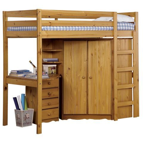 Lofted Bed With Closet And Small Desk Underneath Home