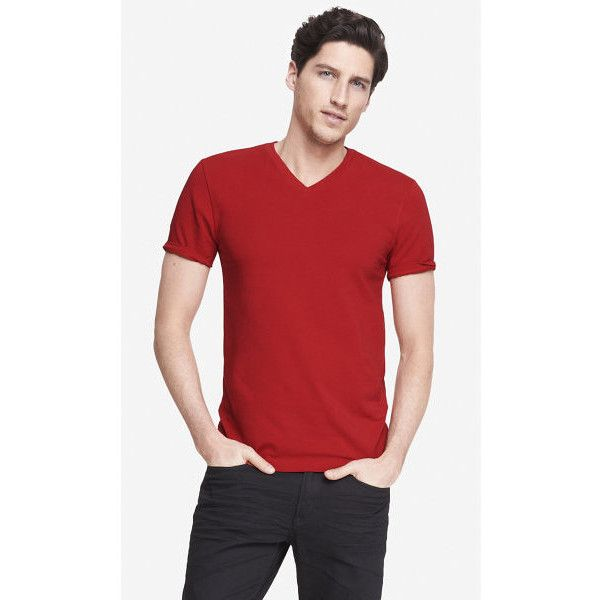 Express Flex Stretch Cotton V-neck Tee ($23) ❤ liked on Polyvore featuring men's fashion, men's clothing, men's shirts, men's t-shirts and red