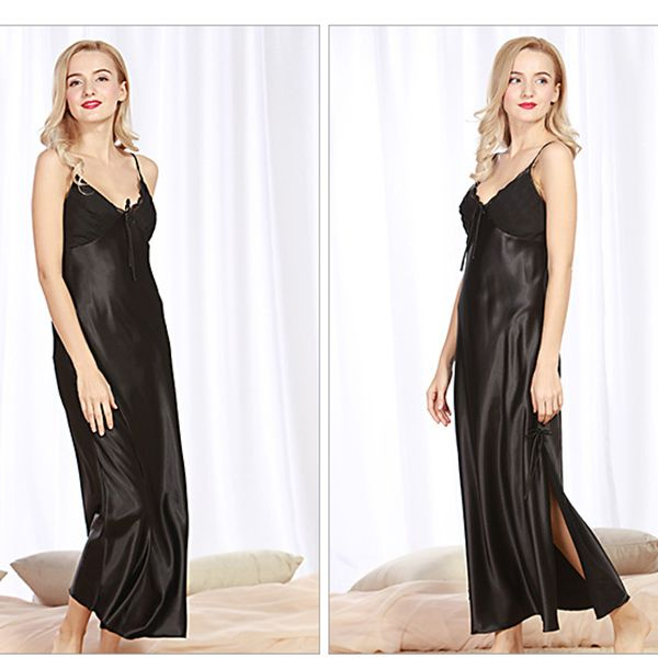 Silky Maxiskit Sexy High Side Slit Straps Night Dress at women fashion sexy lingerie