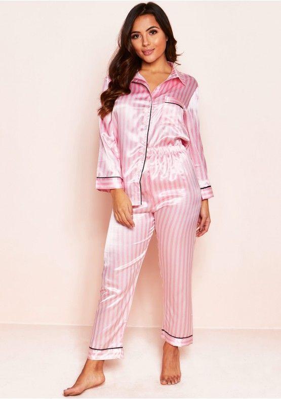 949c55d90c Nina Pink Satin Stripe Long Pyjama Set