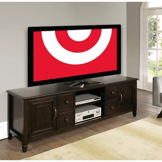 "Connaught Wide TV Media Stand Dark Chestnut Brown (Fits TV up to 80"") -  Simpli Home : Target"