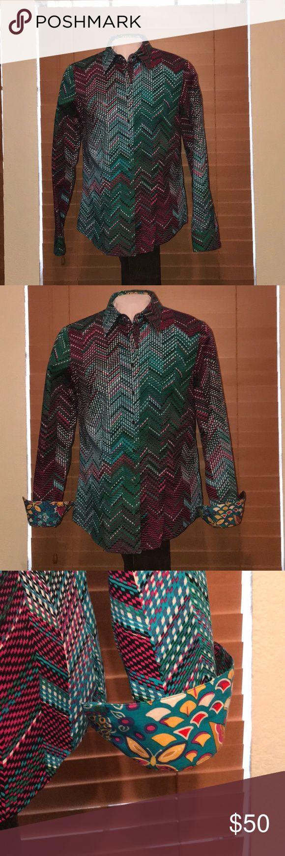 Robert Graham Blouse Gorgeous Robert Graham Blouse in shades of teal, pink and blues. EUC Robert Graham Tops Button Down Shirts