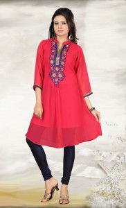 The basic grace to the kurti is provided by the silhouette that pleats crea te on the Rayon Cotton fabric. The kurta falls into an A-line fitting on your body and is supported by a ban collar and horizontally pleated and adequately buttoned neck panel.  #Kurtas #tops #Shopping #OnlineShopping #EthnicWear